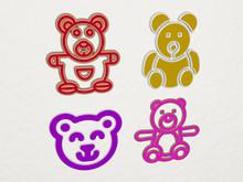 TEDDY BEAR 4 Icons Set, 3D Illustration