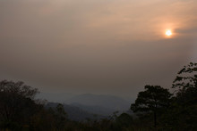 View Landscape Mountain And Forest Nation Park With Mist Or Fog At Viewpoint Of Doi Kiew Lom Scenic Point In Pang Ma Pha Hill Valley Village City While PM 2.5 Dust Situation At Mae Hong Son, Thailand