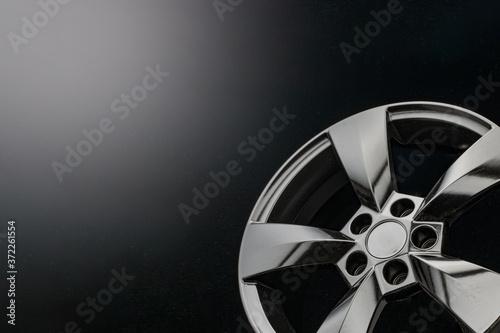 Photo matte black alloy wheels on a dark background