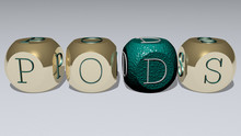 Pods Text By Cubic Dice Letters, 3D Illustration For Background And Green