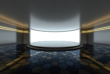 Empty Room With Round Stage In The Center, 3d Rendering.