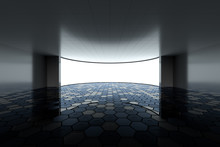 Empty Round Room With Glowing White Screen, 3d Rendering.