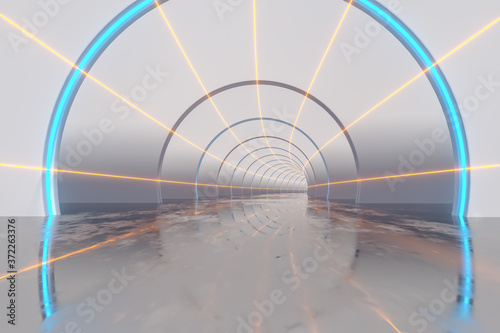 White tunnel with glowing lines background, 3d rendering. Fototapeta