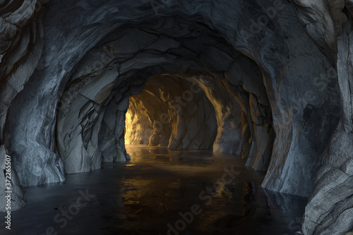The dark rock tunnel with light illuminated in the end, 3d rendering.