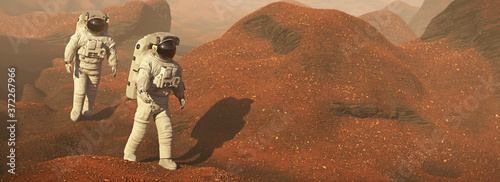 Fotografie, Obraz astronauts on Mars, space travelers exploring the landscape on the red planet