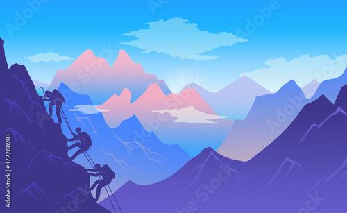 Climbers climb a mountain with climbing equipment Wallpaper Mural