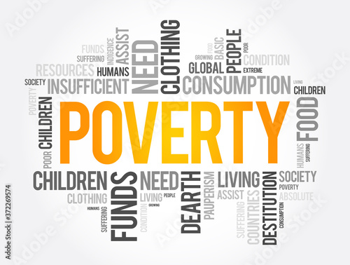 Fototapeta Poverty word cloud collage, social concept background