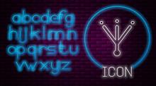 Glowing Neon Line Bird Footprint Icon Isolated On Brick Wall Background. Animal Foot. Neon Light Alphabet. Vector.