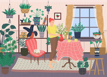Living Room Vector, Woman Holding Vase With Flower, Interior Of Home. Female Character With Pots And Flora, Table Serving, Cat Sleeping On Armchair Flat Style