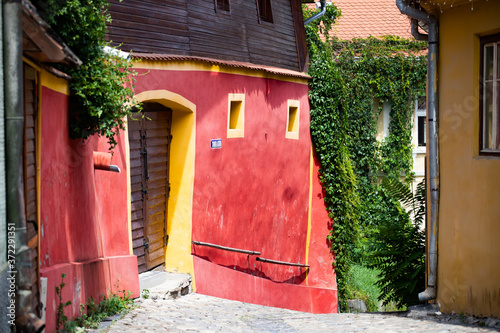 Fototapeta Beautiful colorful street in Sighisoara in typical traditional style