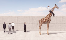 Man Rides A Giraffe To See Bey...