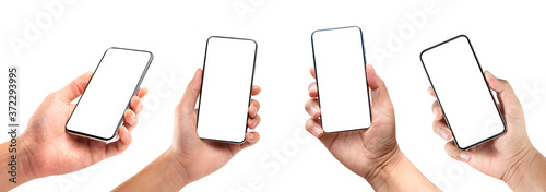 Fotografie, Obraz Closeup studio shot, collection of hand holding phone blank touch screen