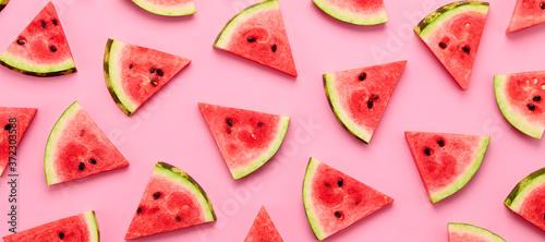 Fototapeta Watermelon colorful pattern on pink background