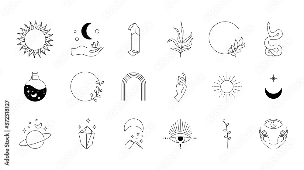 Fototapeta Boho doodle mystic set. Magic hand drawn simple logo icons with snake crystal eye sun moon. Abstract vector illustration