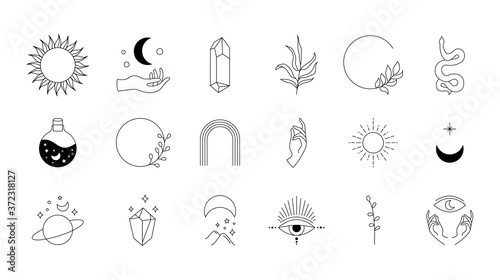 Boho doodle mystic set. Magic hand drawn simple logo icons with snake crystal eye sun moon. Abstract vector illustration