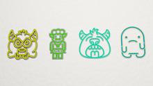 Monster 4 Icons Set, 3D Illust...