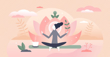 Holistic Healing Self Treatment With Peaceful Mediation Tiny Person Concept