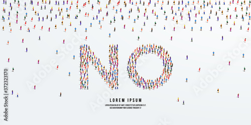 No. Large group of people form to create the word No. vector illustration.