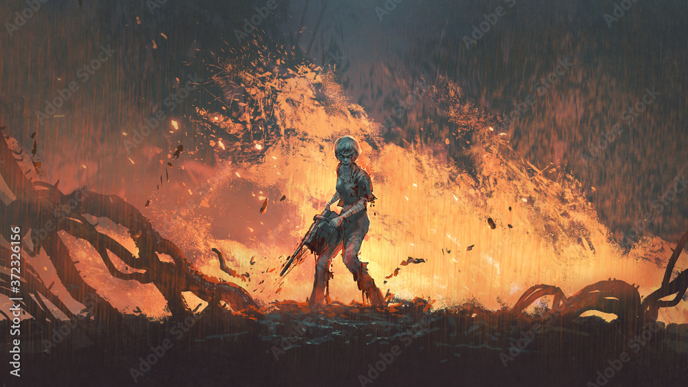 Fototapeta woman with a chainsaw standing on burning ground, digital art style, illustration painting