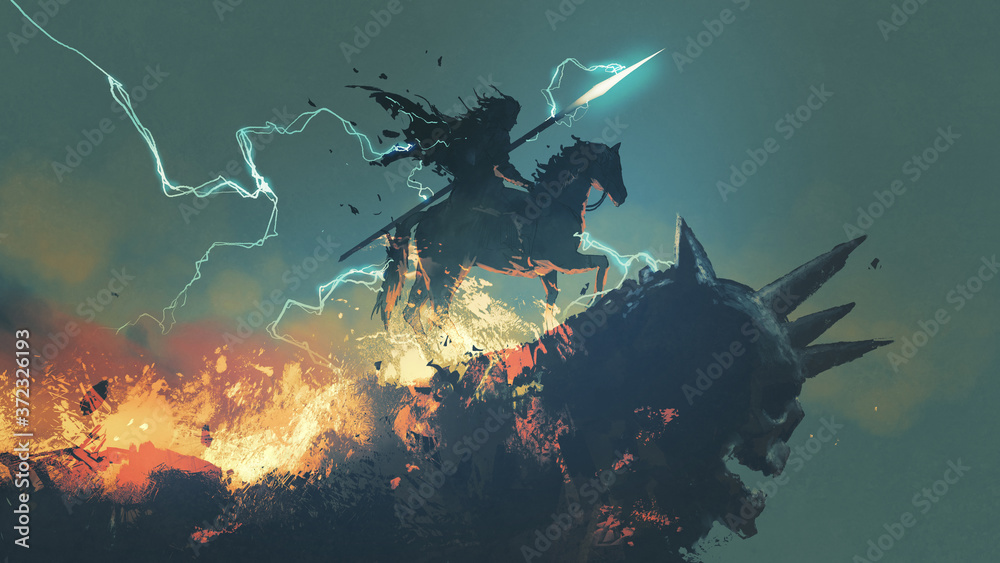 Fototapeta a knight with his horse standing on the dark skull cliff, digital art style, illustration painting