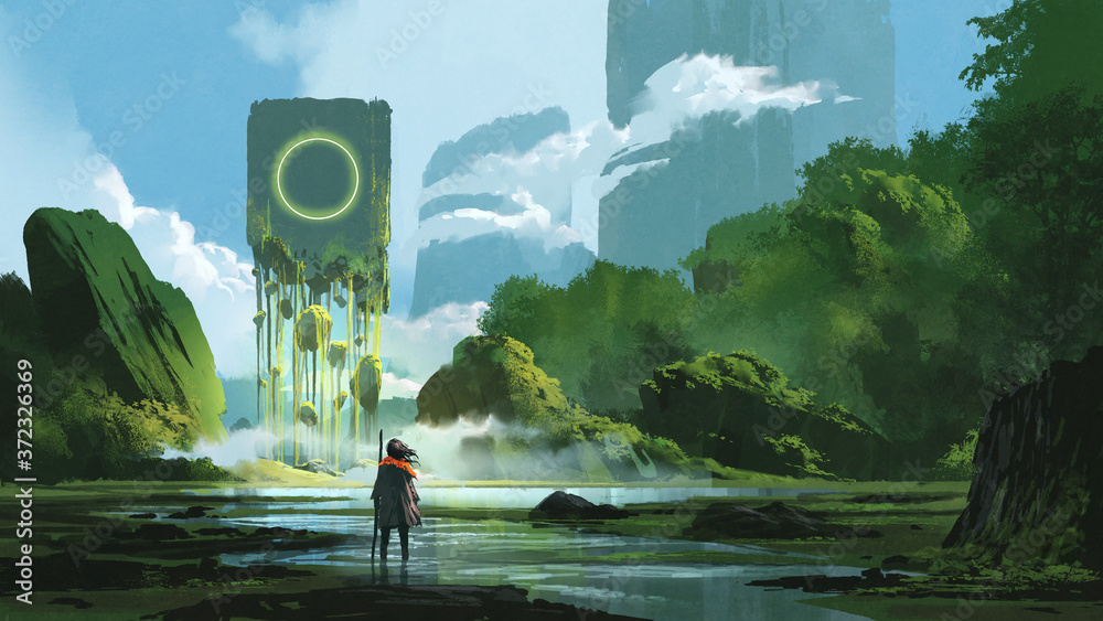 Fototapeta woman standing on creek looking at the mystery rock floating in midair, digital art style, illustration painting