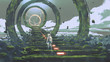Leinwandbild Motiv spaceman standing on the futuristic stairs and looking at the light at the end, digital art style, illustration painting