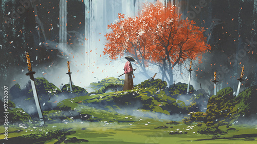 Cuadros en Lienzo samurai standing in waterfall garden with swords on the ground, digital art styl