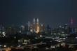 Thunderstorm lightning strike and heavy raining in Kuala Lumpur city