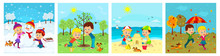 Kids,boy And Girl Ana For Seasons, Illustration,vector