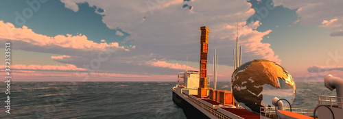 Fotografie, Obraz cargo ship sailing across the ocean