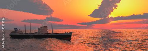 Obraz na plátně cargo ship sailing across the ocean