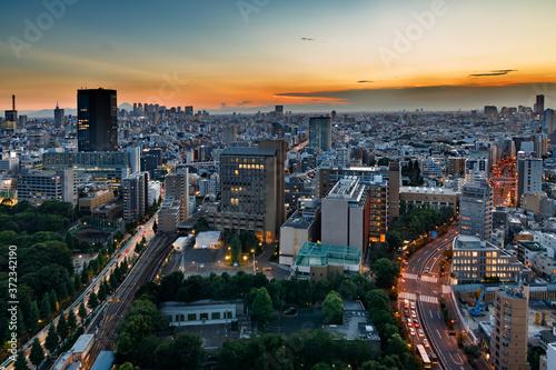 Fotografie, Obraz 夕暮れの光が綺麗な高層ビル群と空