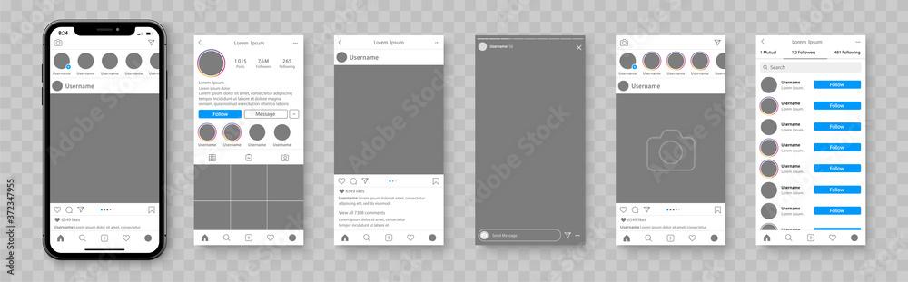 Fototapeta Mockup of social network. Smartphone template for social media app. Social media mockup with cellphone. Social network interface app - stock vector.