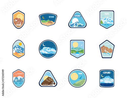 Obraz na plátne expedition and mountains insignia badges icon set, flat style