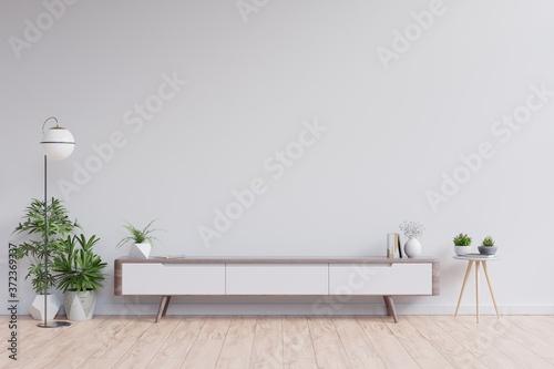 Slika na platnu Shelf tv in modern empty room,minimal design.
