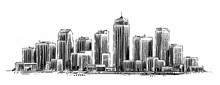 Modern City Sketch. Hand Drawn Urban Landscape With Skyscrapers