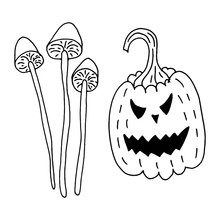Halloween Pumpkin And Mushrooms. Hand-drawn In Doodle Style.