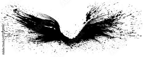 Fotografie, Obraz 羽ばたく翼 翼を広げる 手書きの毛筆イラスト