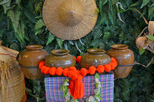 Jar Drum Set For Local Thai Culture Dancing Beside Leaf Wall