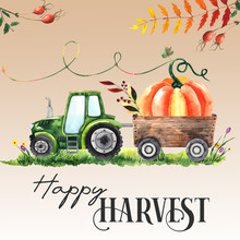 Watercolor Hand Painted Pre-made Autumn Harvest Card With Bright Pumpkins, Tractors, Trailer, Wheelbarrow, Baskets, Peaches, Haystack, Bags, Watering Can, Autumn Leaves.