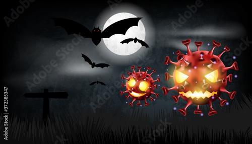 Fototapeta Halloween pumpkin with covid or coronavirus on background
