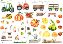 Watercolor Hand Painted Autumn Harvest Elements With Bright Pumpkins, Tractors, Trailer, Wheelbarrow, Baskets, Peaches, Haystack, Bags, Watering Can, Autumn Leaves.