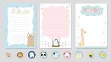 Set Of Planners And To Do List With Cute Animal Illustrations. Template For Agenda, Planners, Check Lists, Notebooks, Cards, Stickers, And Other Stationery. Vector Background
