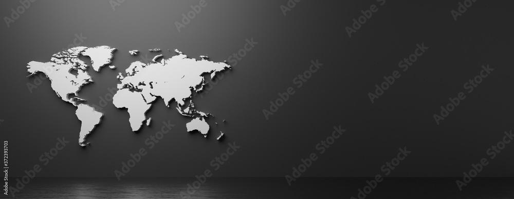 Fototapeta 立体的な世界地図の3Dレンダリンググラフィックス