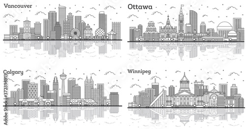 Outline Ottawa, Winnipeg, Calgary and Vancouver Canada City Skylines with Modern Buildings and Reflections Isolated on White.