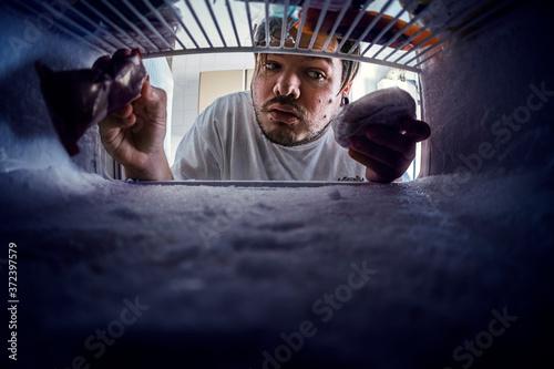 Fotografie, Obraz Vista de ojo de pez desde dentro del congelador de un chico cogiendo articulos