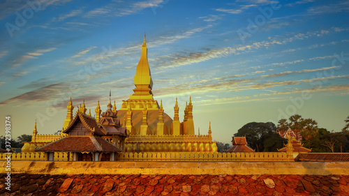 Obraz na plátně Pha That Luang is gold large Buddhist stupa and the most important national monument in Laos and national symbol, Vientiane, Laos