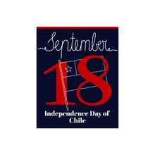 Calendar Sheet, Vector Illustration On The Theme Of Independence Day Of Chile On September 18. Decorated With A Handwritten Inscription SEPTEMBER And Outline Chile Flag.
