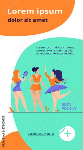 Happy girls admiring their bodies flat vector illustration Canvas Print