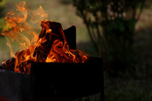Fire Flames On The Green Garden Background. Flaming Wood On The Dark  Garden Background At The Evening Time. Yellow, Red And Orange Dancing Flames. Time For Bbq And Relaxing Concept.